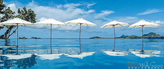 Refelctions by the infinity pool on Tokoriki Island (Sheraton Resort & Spa) in the Mamanuca's Fiji Islands