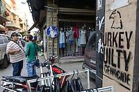 LEBANON, Beirut, armenian quarter Bourj Hammoud, armenian refugees and survivors from the 1915 genocide in the Ottoman Empire, today Turkey, and the death marches in Deir ez-Zor (Syria) have settled here in 1920, wall grafiti with the words: TURKEY GUILTY OF GENOCIDE / LIBANON, Beirut, Bourj Hammoud, ein armenisches Viertel das 1920 von Ueberlebenden und Fluechtlingen des Genozid im Osmanischen Reich bewohnt wurde, Graffiti weisen zum 100. Jahrestag des Voelkermords an den Armeniern im osmanisches Reich auf die Schuldfrage hin: Türkei schuldig für Völkermord