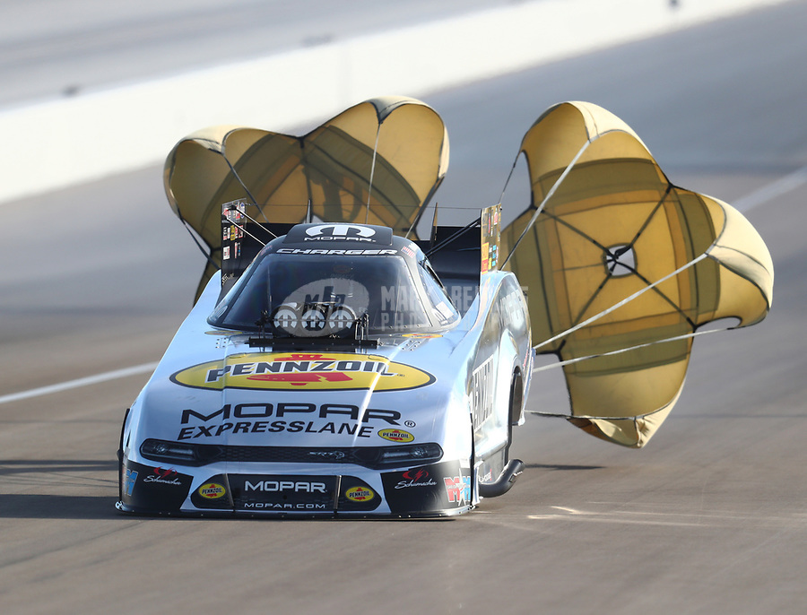 Oct 27, 2018; Las Vegas, NV, USA; NHRA funny car driver Matt Hagan during qualifying for the Toyota Nationals at The Strip at Las Vegas Motor Speedway. Mandatory Credit: Mark J. Rebilas-USA TODAY Sports