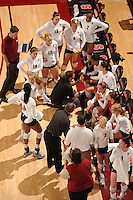 Stanford, CA - OCTOBER 31:  (not in order) Assistant coach Jason Mansfield, volunteer assistant coach Chris Muscat, head coach John Dunning, associate head coach Denise Corlett, outside hitter Cynthia Barboza #1, middle blocker Janet Okogbaa #2, setter Joanna Evans #3, outside hitter Alex Fisher #5, defensive specialist Katherine Knox #6, middle blocker Jessica Walker #7, outside hitter/setter Cassidy Lichtman #8, libero Gabi Ailes #9, outside hitter Alix Klineman #10, defensive specialist Jessica Fishburn #11, outside hitter Erin Waller #12, defensive specialist Katherine Sebastian #14, middle blocker Stephanie Browne #15, and middle blocker Foluke Akinradewo #16 of the Stanford Cardinal during Stanford's 25-22, 25-23, 25-18 win against the Washington Huskies on October 31, 2008 at Maples Pavilion in Stanford, California.