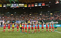 Portland, OR - Saturday July 02, 2016: Thorns  during a regular season National Women's Soccer League (NWSL) match between the Portland Thorns FC and Sky Blue FC at Providence Park.