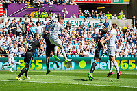 Alfie Mawson of Swansea City tries to head the ball during the Premier League match between Swansea City and West Bromwich Albion at The Liberty Stadium, Swansea, Wales, UK. Sunday 21 May 2017 (Photo by Athena Pictures/Getty Images)