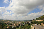 Israel, Upper Galilee, Druze village Peqiin as seen from road 864
