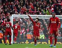 7th March 2020; Anfield, Liverpool, Merseyside, England; English Premier League Football, Liverpool versus AFC Bournemouth; Mohammed Salah of Liverpool celebrates his 25th minute goal