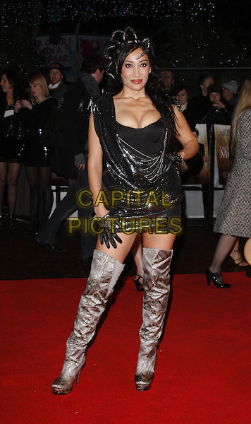 SOFIA HYATT.UK Premiere of  'Did You Hear About The Morgans?' at the Odeon, Leicester Square, London, UK..December 8th, 2009.full length black dress sequins sequined cleavage gloves hayat sophia sophiya hat mini purple lilac silver thigh high boots hand on hip.CAP/ROS.©Steve Ross/Capital Pictures.