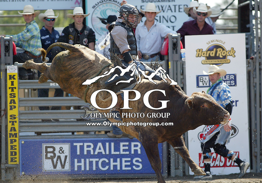 30 Aug 2009:  Zack Elliott riding the bull Dutch was not able to score on his ride during the Extreme Bulls tour stop in Bremerton, Washington.  Bremerton was the last stop in the Wrangler Million Dollar Pro Rodeo Silver Tour for 2009.