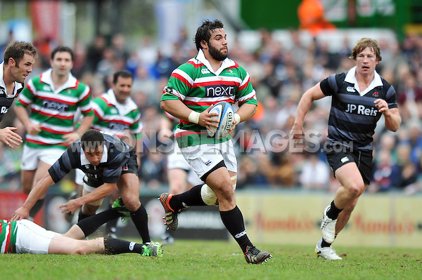 Riccardo Brugnara goes on the attack. Leicester Tigers Legends Match, between Louis Deacon's Tigers Legends and the Matt Hampson's International Legends on April 21, 2013 at Welford Road in Leicester, England. Photo by: Patrick Khachfe / Onside Images