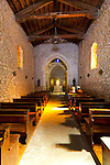 The Wine Route in early spring in Beaujolais, France. In the village of Avenas, the Church of St. Vincent, a 12th century church whose Romanesque altar is carved in white limestone and one of the finest examples of medieval French altars.