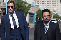 War on Everyone (2016) <br /> Alexander Skarsgard (&quot;Terry Monroe, left) and Michael Pena (&quot;Bob Bolano,&quot; right)<br /> *Filmstill - Editorial Use Only*<br /> CAP/FB<br /> Image supplied by Capital Pictures