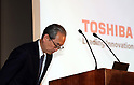 June 23, 2017, Tokyo, Japan - Japan's troubled Toshiba president Satoshi Tsunakawa bows his head as he speaks before press at the company's headquarters in Tokyo on Friday, June 23, 2017. Toshiba asked authority to extend a deadline to submit its annual financial report until August 10. Toshiba's stock will be transferred from the first section to the second section at the Tokyo and Nagoya Stock Exchange from August 1.   (Photo by Yoshio Tsunoda/AFLO) LwX -ytd-
