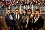 Spanish singer David Bisbal (2L), Maria Valverde (2R), Barbara Goenada, cinema director Kike Maíllo (L) and actor Oriol Vila attend David Bisbal´s new music album premiere photocall at Callao cinema in Madrid, Spain. March 17, 2014. (ALTERPHOTOS/Victor Blanco)