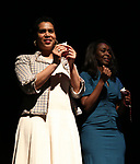 """Leslie Malaika Lewis, Immaculee Ilibagiza on stage during """"Miracle in Rwanda"""" honoring International Day of Reflection on the 1994 Genocide against the Tutsi in Rwanda at the Lion Theatre on Theater Row on April 7, 2019 in New York City."""