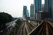 Slow moving traffic in downtown Kuala Lumpur, Malaysia.