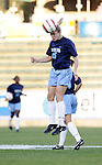 UNC's Lindsay Tarpley practices heading the ball before the game on Friday, November 4th, 2005 at SAS Stadium in Cary, North Carolina. The University of North Carolina Tarheels defeated the Duke University Blue Devils 2-1 in their Atlantic Coast Conference Tournament Semifinal game.