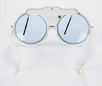 BNPS.co.uk (01202 558833)<br /> Pic: RRAuction/BNPS<br /> <br /> A pair of Elton John's iconic 'windscreen wiper' sunglasses have emerged for sale for £8,000. ($10,000)<br /> <br /> The Rocketman star sported the quirky eyewear in the early 1970s around the time became a worldwide phenomenon with his album 'Goodbye Yellow Brick Road'.<br /> <br /> Wire extends from the right arm to a 15 volt battery tube which has a button to turn the wipers on.<br /> <br /> The glasses, which were made by Brevete, have a white plastic frame and blur tint lenses.<br /> <br /> They are now being sold with US based RR Auction, having emerged from a storage facility of vintage Elton apparel.