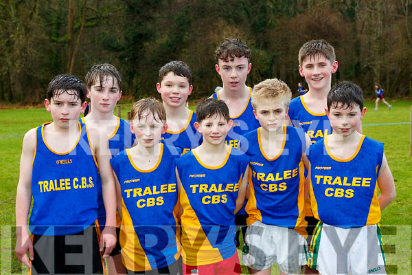 Tralee CBS runners at the Kerry Schools Cross Country championships in Killarney on Friday front row l-r: Donnacha Sayers, Donnagh Stephenson, Jamie O'Shea, Cathal Concagh, Tadhg Scanlon. Back row: Ben Donnellan, Donal Daly, Sean Healy and Ruairi Burns