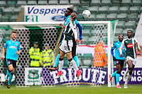 Fleetwood Town's  Devante Cole wins an aerial battle with Plymouth Argyle's Oscar Threlkeld<br /> <br /> Photographer Andrew Kearns/CameraSport<br /> <br /> The EFL Sky Bet League One - Plymouth Argyle v Fleetwood Town - Saturday 7th October 2017 - Home Park - Plymouth<br /> <br /> World Copyright &copy; 2017 CameraSport. All rights reserved. 43 Linden Ave. Countesthorpe. Leicester. England. LE8 5PG - Tel: +44 (0) 116 277 4147 - admin@camerasport.com - www.camerasport.com