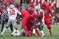College Park, MD - NOV 12, 2016: Maryland Terrapins running back Wes Brown (5) runs the football during game between Maryland and Ohio State at Capital One Field at Maryland Stadium in College Park, MD. (Photo by Phil Peters/Media Images International)