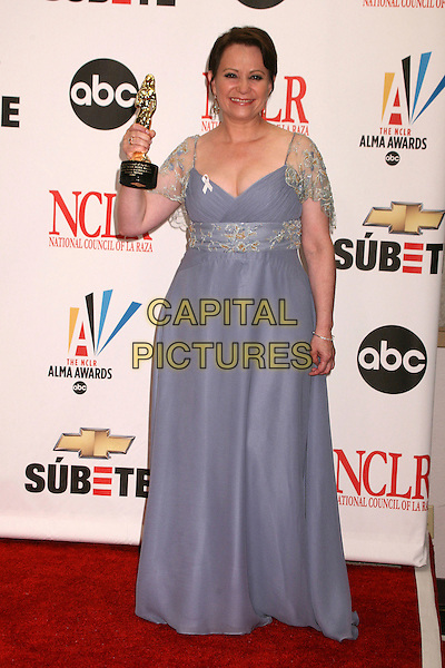 ADRIANA BARAZZA.2007 NCLR ALMA Awards at the Pasadena Civic Center, Pasadena, California, USA..June 1st, 2007.full length blue sheer gold detail sleeves award trophy dress.CAP/ADM/BP.©Byron Purvis/AdMedia/Capital Pictures
