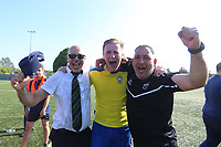 Aki Achilleas chairman of Haringey celebrates with Mark Kirby and manger Tom Loizou during Haringey Borough vs Canvey Island, Bostik League Division 1 North Play-Off Final Football at Coles Park Stadium on 6th May 2018