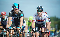 best mates Bernie Eisel (AUT) & Mark Cavendish (GBR) up Haytor climb together<br /> <br /> 2013 Tour of Britain<br /> stage 6: Sidmouth to Haytor (Dartmorr): 137km