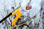 MANUEL FETTNER of Austria soars through the air during the FIS World Cup Ski Jumping in Sapporo, northern Japan in February, 2008.