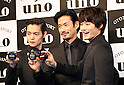 "March 9, 2016, Tokyo, Japan - Japanese actors (L-R) Masataka Kubota, Yutaka Takenouchi and Shuhei Nomura display men's hair styling wax ""Uno"" in Tokyo on Wednesday, March 9, 2016. Japanese cosmetics giant Shiseido unveiled the new series of men's hair styling products.  (Photo by Yoshio Tsunoda/AFLO)"