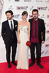 """Madrid premiere of the movie """"Rec 3. Genesis. The Wedding of the year."""" With the presence of the director Paco Plaza, and the actors Leticia Dolera and Diego Martin. In the image Diego Martin, Leticia Dolera and Paco Plaza (Alterphotos/ Marta Gonzalez)"""