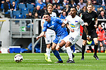 14.04.2019, PreZero Dual Arena, Sinsheim, GER, 1. FBL, TSG 1899 Hoffenheim vs. Hertha BSC Berlin, <br /> <br /> DFL REGULATIONS PROHIBIT ANY USE OF PHOTOGRAPHS AS IMAGE SEQUENCES AND/OR QUASI-VIDEO.<br /> <br /> im Bild: Nico Schulz (TSG 1899 Hoffenheim #16) gegen Valentino Lazaro (Hertha BSC Berlin #20)<br /> <br /> Foto © nordphoto / Fabisch