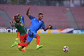 June 8th 2017, Créteil, France, U-21 International football friendly, France versus Cameroon;  Adama Diakhaby (fra) challenged by Didier Lamkelze (cam)