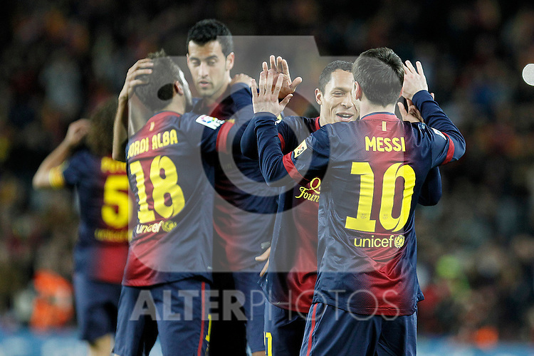 FC Barcelona's Jordi Alba, Sergio Busquets, Adriano Correia and Leo Messi celebrate goal during La Liga match.December 16,2012. (ALTERPHOTOS/Acero)