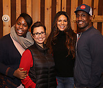 Alex Newell, Lea Salonga, Merle Dandridge, and Quentin Earl Darrington from cast of the Broadway revival of 'Once on This Island' in the recording studio for the new Broadway cast recording with Broadway Records at Power Station on December 21, 2017 in New York City.