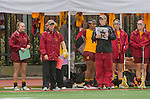 Los Angeles, CA 02/28/14 - USC coaches Lindsey Munday and Devon Wills look at the action during the Marist Red Foxes vs University of Southern California Trojans NCAA Women's lacrosse game at Loker Track Stadium on the USC Campus.  Marist defeated USC 12-10.