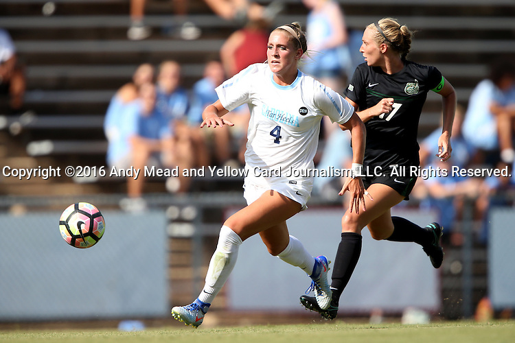 21 August 2016: North Carolina's Bridgette Andrzejewski (4) and Charlotte's Kaitlin Walker (17). The University of North Carolina Tar Heels hosted the University of North Carolina Charlotte 49ers in a 2016 NCAA Division I Women's Soccer match. UNC won the game 3-0