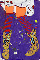 Girl's legs wearing funky cowboy boots and stripy socks