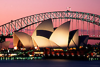 Scenic view of the Sydney Opera House and Harbour Bridge at dusk. Australia.