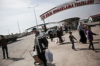 February 15, 2016: Syrian refugees arrive into Turkey at the Bab Al-Salame crossing point in Kilis governorate.