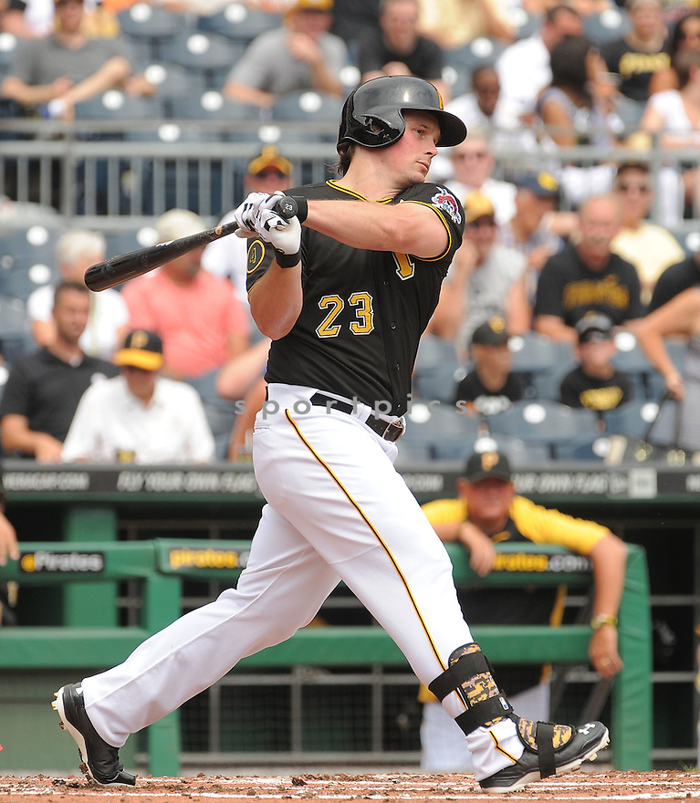 Pittsburgh Pirates Travis Snider (23) during a game against the St. Louis Cardinals on August 27, 2014 at PNC Park in Pittsburgh PA. The Pirates beat the Cardinals 3-1.