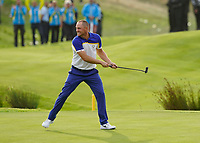 Alex Noran (Team Europe) celebrating his win on the 18th during the singles matches at the Ryder Cup, Le Golf National, Ile-de-France, France. 30/09/2018.<br /> Picture Fran Caffrey / Golffile.ie<br /> <br /> All photo usage must carry mandatory copyright credit (&copy; Golffile | Fran Caffrey)