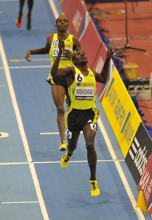 Photo: Tony Oudot/Richard Lane Photography. Aviva Grand Prix. 20/02/2010. .Deresse Mekonnen of Ethiopia wins the Mens 1500m.