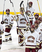 Chris Collins, Cory Schneider, Andrew Orpik, Nathan Gerbe, Joe Rooney, Mike Brennan, Brian O'Hanley - Boston College defeated Merrimack College 3-0 with Tim Filangieri's first two collegiate goals on November 26, 2005 at Kelley Rink/Conte Forum in Chestnut Hill, MA.