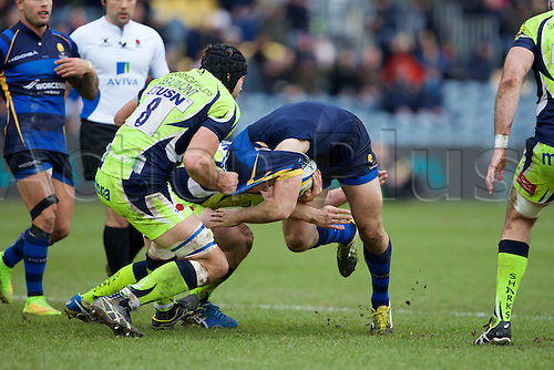 20.02.2016. Sixways Stadium, Worcester, England. Aviva Premiership. Worcester Warriors versus Sale Sharks. Sale Sharks number 8 Josh Beaumont rips the shirt off a Worcester player.
