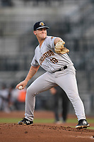 Starting pitcher Shawn Semple (18) of the Charleston RiverDogs struck out a career-high 10 batters and earned the win in his Class A debut against the Columbia Fireflies on Monday, August 27, 2018, at Spirit Communications Park in Columbia, South Carolina. Charleston won, 4-0. (Tom Priddy/Four Seam Images)