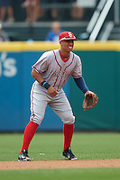 Syracuse Chiefs second baseman Chris Bostick (1) during a game against the Buffalo Bisons on July 31, 2016 at Coca-Cola Field in Buffalo, New York.  Buffalo defeated Syracuse 6-5.  (Mike Janes/Four Seam Images)