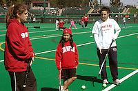 "11 March 2006: Bailey Richardson and Caroline Hussey participate with kids in ""Learn about Field Hockey"" Day at the Varsity Turf Field at Stanford, CA. Proceeds benefited Duveneck Elementary School."