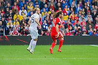 Gareth Bale of Wales loses his hair band during the FIFA World Cup Qualifier match between Wales and Georgia at the Cardiff City Stadium, Cardiff, Wales on 9 October 2016. Photo by Mark  Hawkins / PRiME Media Images.