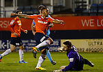 Picture by David Horn/eXtreme Aperture Photography +44 7545 970036<br /> 26/11/2013<br /> Andre Gray of Luton Town scores his team's third goal during the Skrill Premier match at Kenilworth Road, Luton.