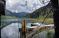 Wooden jetty, Lake Haldensee, Nesslewangle, Reutte district. Austria.The Alps