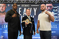Daniel Dubois (L), Frank Warren and Nathan Gorman during a Press Conference at Intercontinental Hotel O2 on 5th June 2019