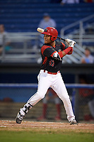 Batavia Muckdogs center fielder Ricardo Cespedes (47) at bat during a game against the Williamsport Crosscutters on August 3, 2017 at Dwyer Stadium in Batavia, New York.  Williamsport defeated Batavia 2-1.  (Mike Janes/Four Seam Images)